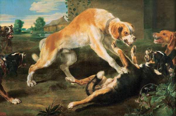 Pauwel 'Paul' De Vos - Dogs Fighting, 1620